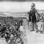 This undated illustration depicts President Abraham Lincoln making his Gettysburg Address at the dedication of the Gettysburg National Cemetery on the battlefield at Gettysburg, Pa., Nov. 19, 1863.  The cemetery commemorates soldiers who died in the American Civil War Battle of Gettysburg in July.  (AP Photo)