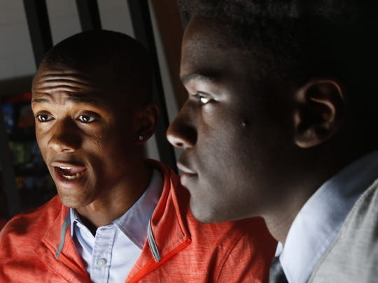 Ranney basketball superstars Scottie Lewis (left) and Bryan Antoine talk about their upcoming All-Star charity basketball game. Tinton Falls,NJ. Monday, September 11, 2017. Noah K. Murray-Correspondent Asbury Park Press