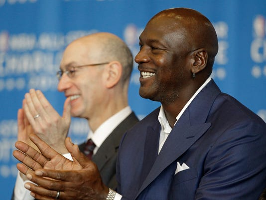 Michael Jordan and Adam Silver