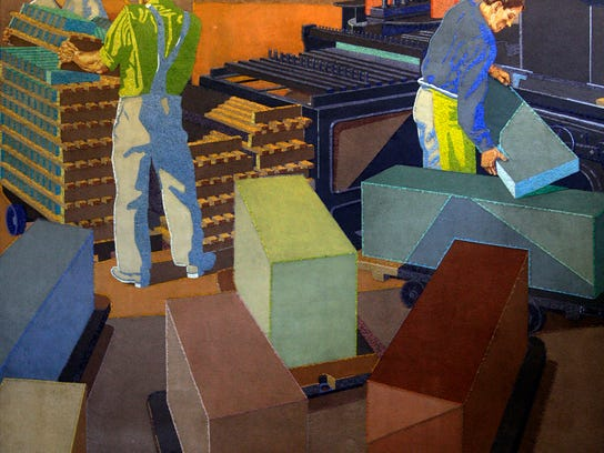 Artist Winold Reiss' mosaic mural of workers at Procter