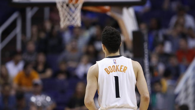 Phoenix Suns guard Devin Booker plays his last game of the season against the Los Angeles Clippers at Talking Stick Resort Arena in Phoenix on April 13, 2016.