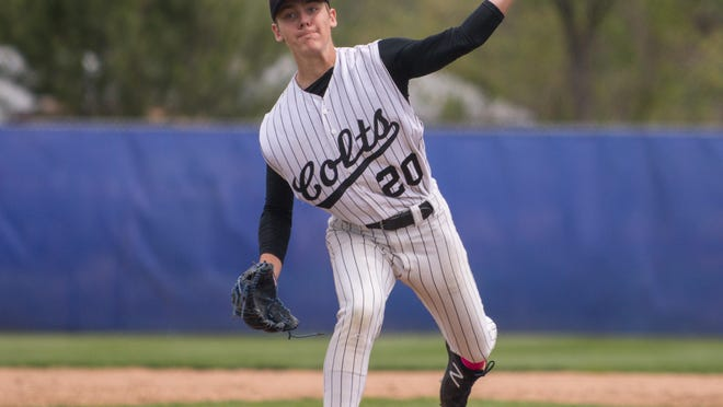 South High School's Hunter Fair delivers a pitch against Longmont in the Colts 6-2 loss in the Class 4A regionals last spring at Chuck Griffith Field in Wheat Ridge.
