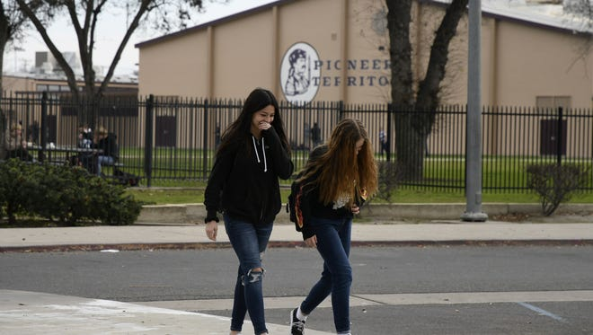 Mt. Whitney High School students leave campus for lunch on Wednesday afternoon. The high school is one of seven that will be represented by students in a future VUSD student task force to create a conversation about campus culture.