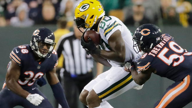 Green Bay Packers tight end Martellus Bennett (80) catches a pass against the Chicago Bears in the third quarter on Thursday, September 28, 2017 at Lambeau Field in Green Bay, Wis.
