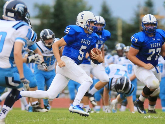 Salem quarterback Ryan Young (No. 5), shown from a 2016 game was selected to the All-KLAA Black Division team.