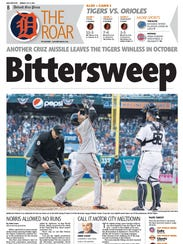 The Free Press sports front from the day after the