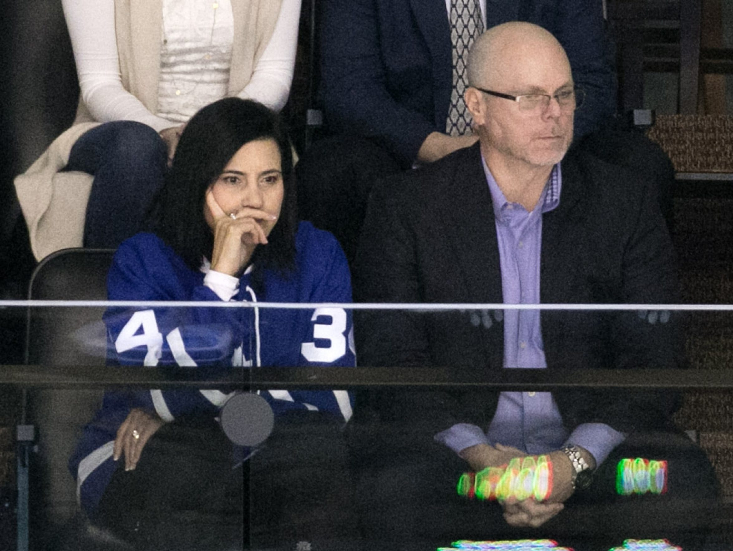 Auston Matthews' parents, Ema and Brian, watch his first game against the Coyotes in 2016.