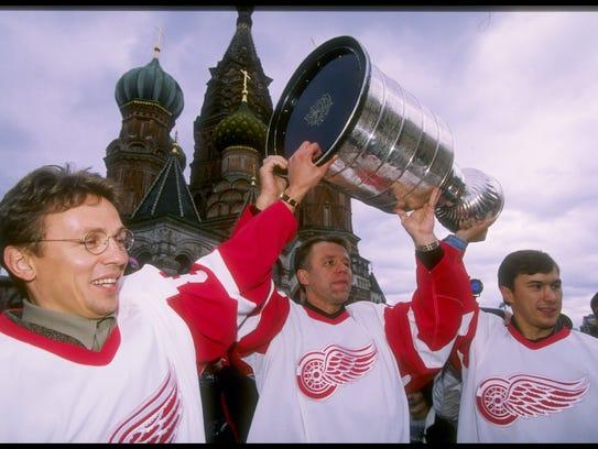 From left, Igor Larionov, Slava Fetisov and Vyacheslav
