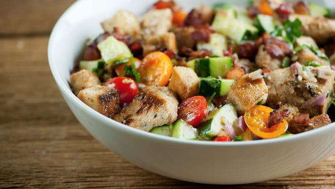 Panzanella salad with chicken and bacon added -- the ticket to happiness