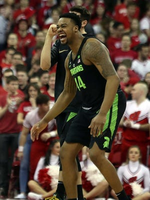 Feb 25, 2018; Madison, WI, USA; Michigan State's Nick Ward celebrates the Spartans' 68-63 win over Wisconsin at the Kohl Center.