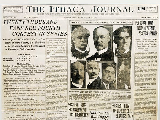This Oct. 10, 1913 copy of The Ithaca Journal provided the results of the New York-Philadelphia World Series game on the front page.