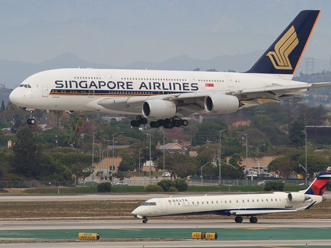 A Singapore Airlines Airbus A380 superjumbo, the largest