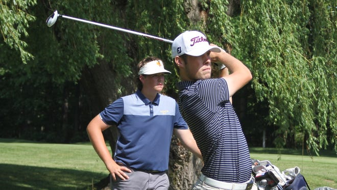 Hartland's Mitchell Cotten shot 73 to finish in a three-way tie for second place individually in the Division 1 regional golf tournament at Dunham Hills on Thursday, May 31, 2018.