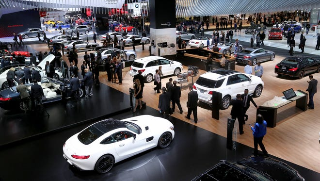 The Mercedes-Benz stand at the 2016 North American International Auto Show held at Cobo Center in downtown Detroit.