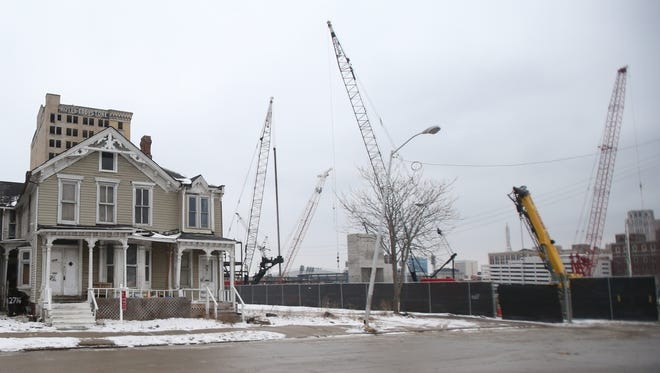 This vacant house at 2712 Cass Ave. is available for $3,999,999. It neighbors the construction site of the new Red Wings arena in Detroit MI. on Tuesday, Febuary 16,2016. Kirthmon F. Dozier/Detroit Free Press