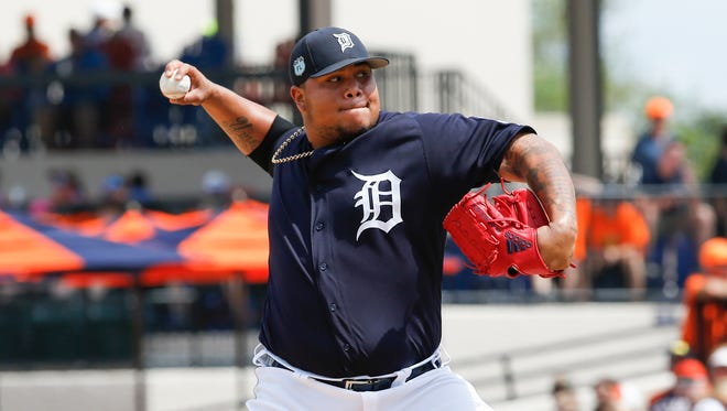 Mar 26, 2017; Lakeland, FL, USA; Tigers relief pitcher Bruce Rondon throws a pitch during the seventh inning against the Blue Jays at Joker Marchant Stadium.