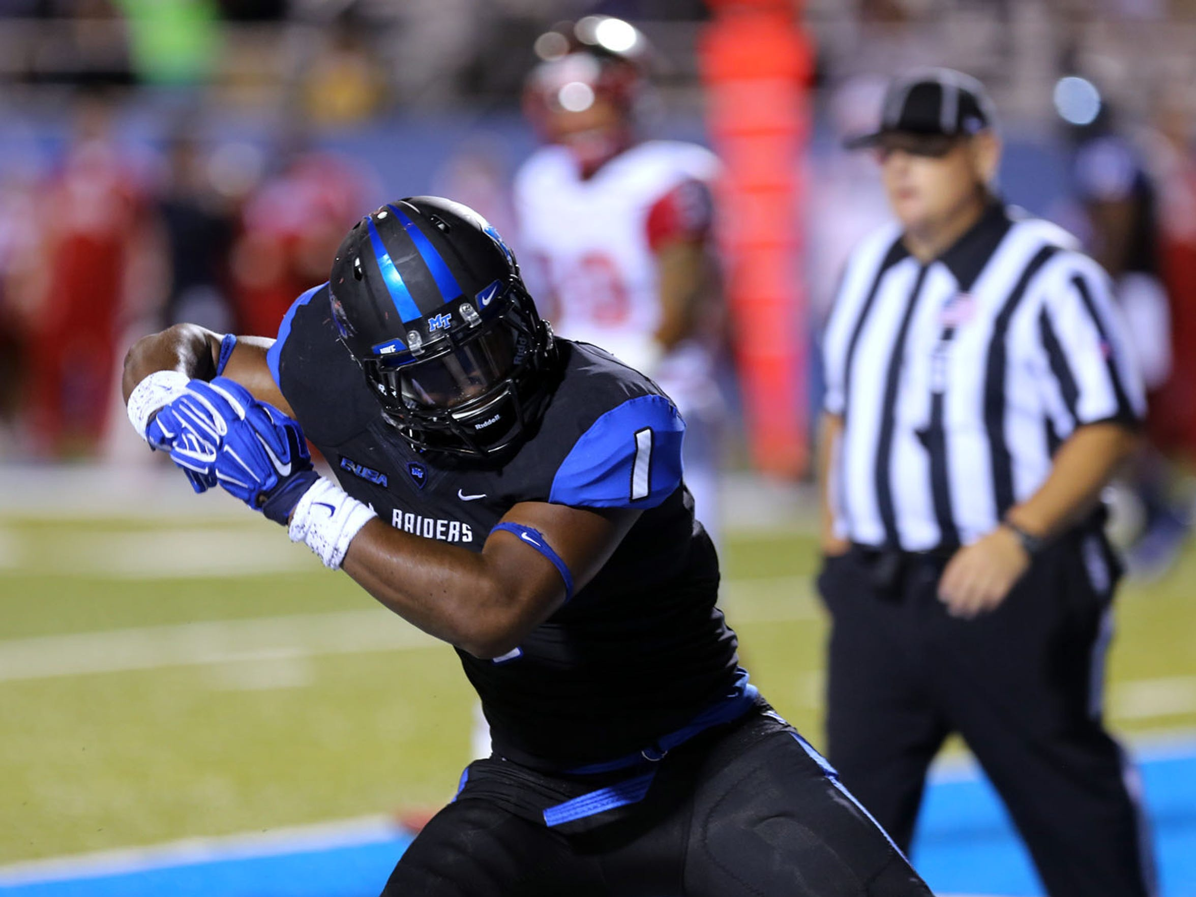 MTSU running back Shane Tucker leads the Blue Raider offense this year. He is one of three running backs in the rotation who could see action Saturday night.