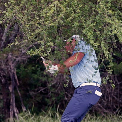 Grayson Murray hits his second shot from the rough on the 8th hole during the third round at the Valero Texas Open golf tournament, Saturday, April 21, 2018, in San Antonio, Texas. (AP Photo/Michael Thomas)