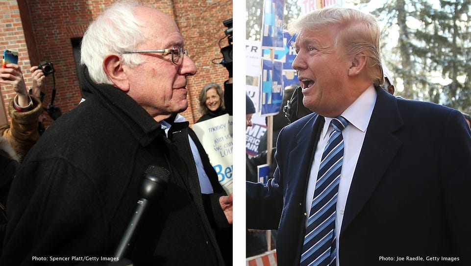 Bernie Sanders, left, and Donald Trump, right, are