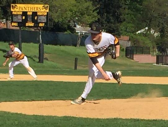 Cedar Grove's Shane Benson throws a pitch against in