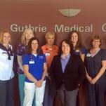 Guthrie Corning Hospital Cardiac Rehab Team, from left: Jennifer Yartym, senior director; Susan Doyle, RN; Paola Kaufman, exercise physiologist; Margaret Daniels, RN; Dr. Kristine Perle; Holly Frampton, exercise physiologist; Lisa Stoddard, RN; Susan Byers, RN.