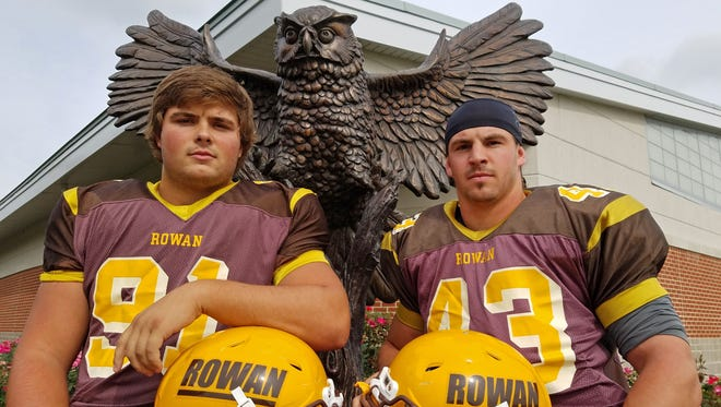 Rowan defensive tackle and Seneca grad Will Flake, left, and linebacker Ryan Brenner, a Mainland product, have been staples in the Profs' tough front seven this season.