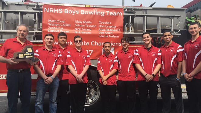 The North Rockland boys bowling team poses in front of the high school before its victory parade. Apr. 29, 2017.