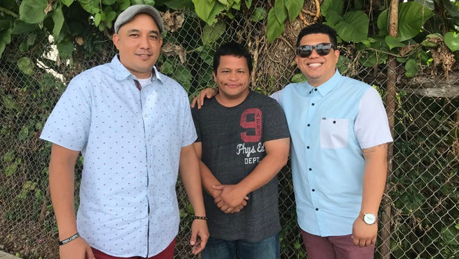 TOHGE chairman Jeremiah Santos (left) and spokesman Garrett Duenas (right) work with Mark James Quintanilla on his journey of substance abuse recovery.