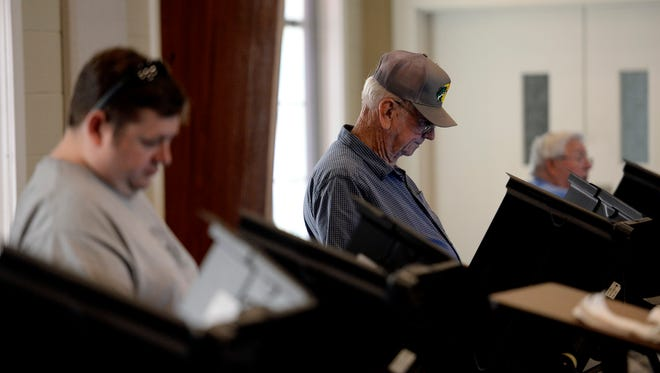 People vote inside the Joelton First Baptist Church on Tuesday, May 1, 2018, in Nashville, Tenn