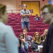 Scott Zigler, second from left, coordinator of the Atlantic Theater Company's Atlantic Acting School Summer Intensive at the University of Vermont in Burlington, and movement instructor Meg Eginton, right, coach actors Logan Thomason, left, and Becca Silverstone on July 23.