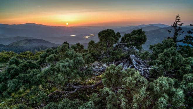 The stunning views from the Cascade-Siskiyou National Monument, including the sun, moon, Mount Shasta and Pilot Rock, were captured May 3, 2015, from the Pacific Crest Trail, or PCT.