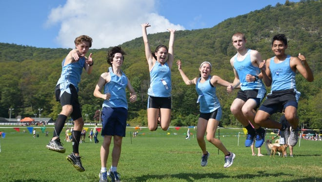 Mahwah cross-country seniors: (from left) Ron Wilson, James Ariemma, Lauren Byrne, Emily Mohre, Cole LaBruzzo and Andre Gallasse.