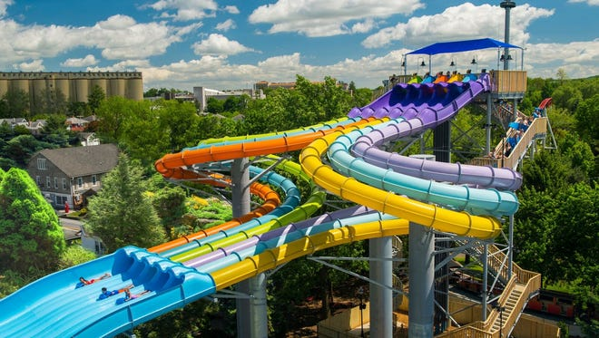 The Whitecap Racer shown here is one of two new water coasters opening at Hersheypark on Saturday.