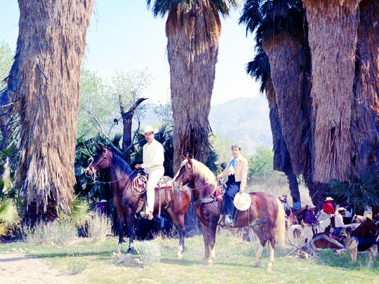 Pearl McCallum McManus and Frank Bogert on a Desert Riders ride.  c. 1961.  Andreas Canyon.