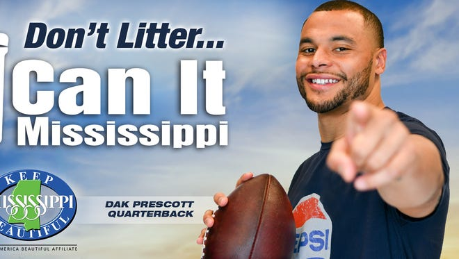 Keep Mississippi Beautiful has selected Dak Prescott as the Honorary Champion for their upcoming anti-litter campaign.