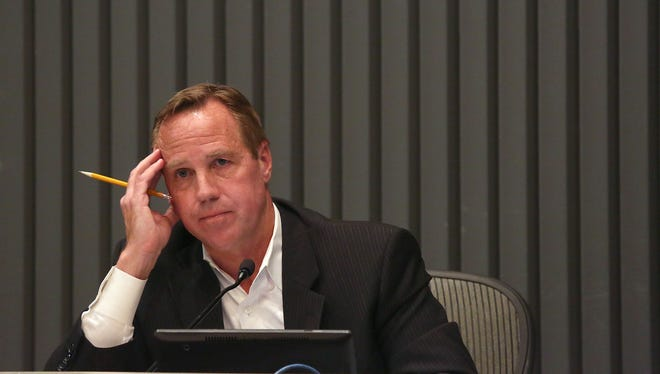 Palm Springs Mayor Steve Pougnet listens to critics during a May 20, 2015, council meeting.