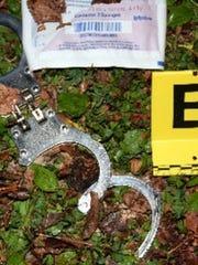 Handcuffs found at the scene Nov. 15, 2015, of the