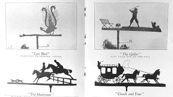 Old weathervanes in a brochure