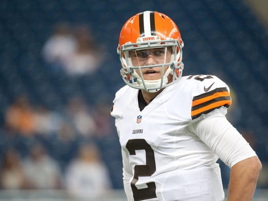 Cleveland Browns quarterback Johnny Manziel (2) before the game against the Detroit Lions at Ford Field.