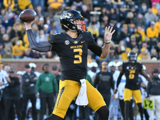 Nov 12, 2016; Columbia, MO, USA; Missouri Tigers quarterback Drew Lock (3) throws a pass during the first half against the Vanderbilt Commodores at Faurot Field.