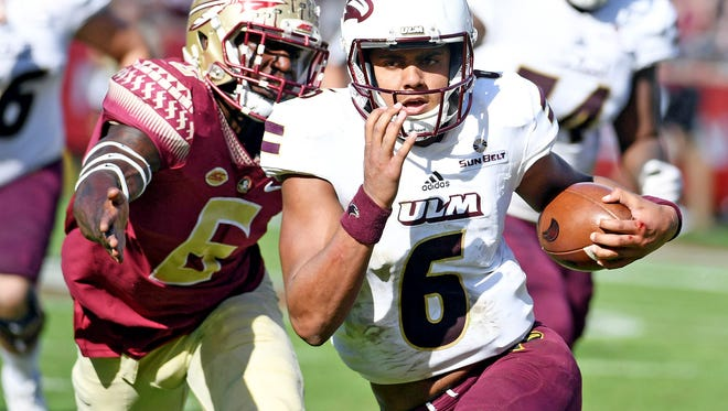 Junior quarterback Caleb Evans (6) entered spring practice at ULM looking to improve his consistency and overall accuracy.