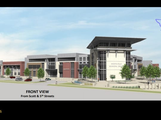 A city of Wichita Falls rendering of a front view of the proposed municipal complex. This project, Proposition D on the Wichita Falls bond election was the least liked item according to a vote canvasing report.