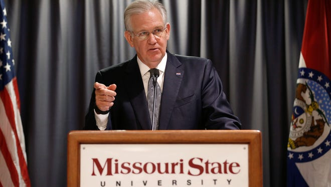 Missouri Gov. Jay Nixon speaks about the impact House Bill 2003, the Fiscal Year 2017 budget for higher education, will have on higher education in Mo. at Missouri State University on Wednesday, April 27, 2016.