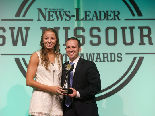 Brooke Stanfield was named the female athlete of the year during the 2016 Southwest Missouri Sports Awards at the Springfield Expo Center on Thursday, June 9, 2016. Presenting her with the award is News-Leader President Allen Jones.