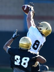 Tight end Ben Bresnahan pulls in a pass during Vanderbilt's first practice of spring football Feb. 26.