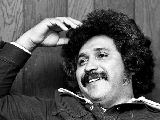 Freddy Fender gives an interview in the Dot Records office March 27, 1975, during his first visit ever to Nashville.