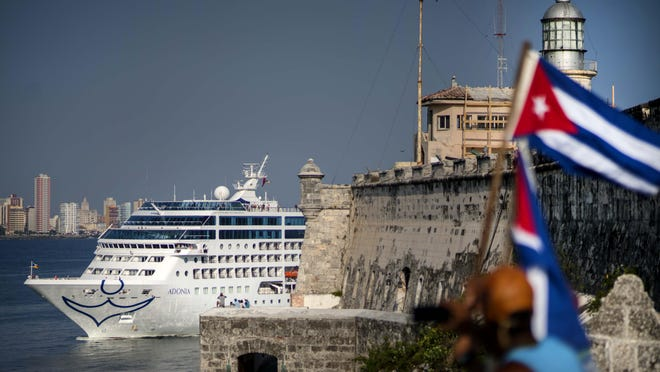 Carnival's Fathom cruise line ship Adonia arrives from Miami in Havana, Cuba, on May 2. On Wednesday, Royal Caribbean and Norwegian cruises announced that they had received permission from the Cuban government to begin sailing from the U.S. to Cuba.