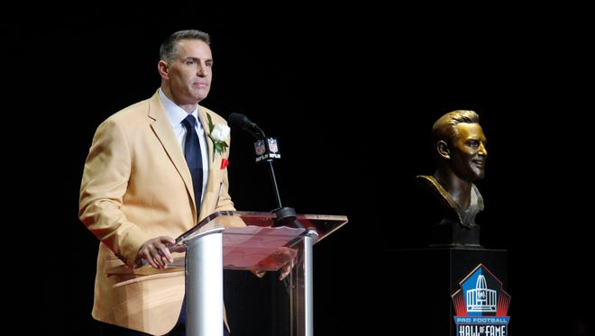 Aug 5, 2017; Canton, OH, USA;  Arizona Cardinals former quarterback Kurt Warner delivers his acceptance speech during the Professional Football HOF enshrinement ceremonies at the Tom Benson Hall of Fame Stadium.