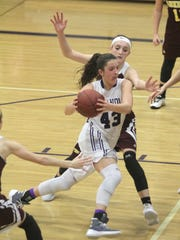 Indianola sophomore Grace Berg cut toward the basket. Class 5-A fifth-ranked Indianola beat Ankeny 52-47 in Indianola on Dec. 15.