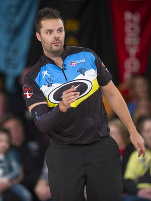 Jason Belmonte and 400 other bowlers tested oil patterns Monday at Woodland Bowl in Indianapolis. He is three-time defending Masters champion. This photograph was taken during a 2015 competition.